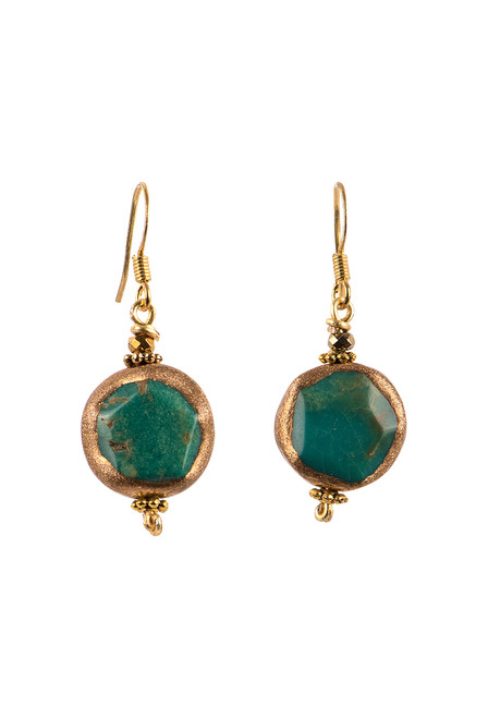 Breathe Deep Designs 22K Gold Turquoise Brass Wired Earrings
