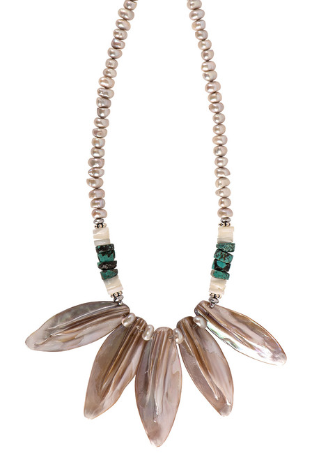 Breathe Deep Designs Pink Mother of Pearl Necklace - Close