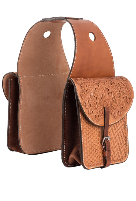 Pinto Ranch Small Tooled and Stamped Saddle Bag  - Full