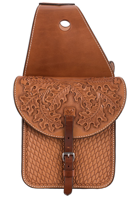 Pinto Ranch Small Tooled and Stamped Saddle Bag  - Side