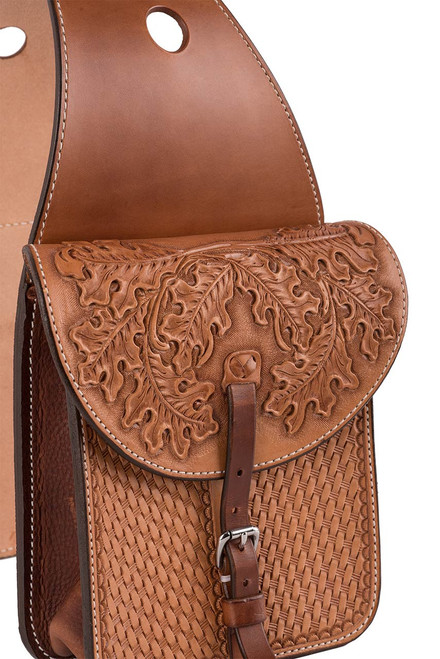 Pinto Ranch Small Tooled and Stamped Saddle Bag  - Angle