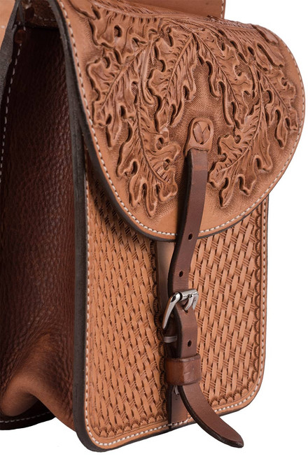 Pinto Ranch Small Tooled and Stamped Saddle Bag  - Pocket