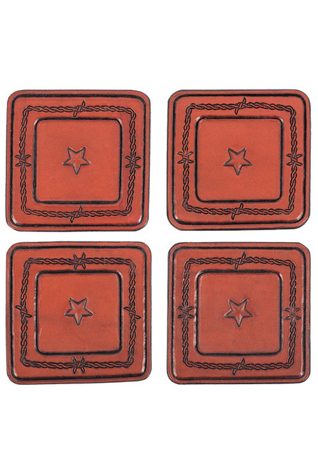 Pinto Ranch Stamped Leather Coaster Set - Set 2