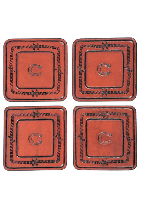 Pinto Ranch Stamped Leather Coaster Set - Set 3