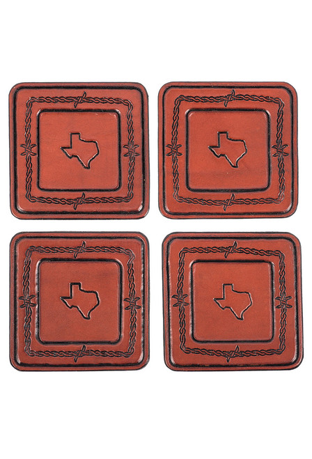 Pinto Ranch Stamped Leather Coaster Set - Set 4
