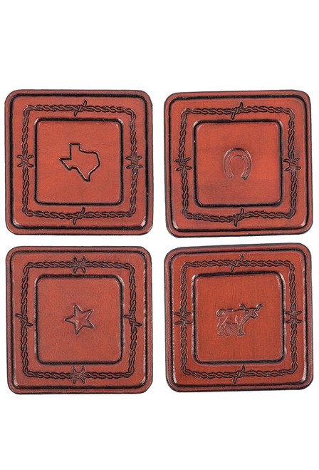 Pinto Ranch Stamped Leather Coaster Set - Set 5