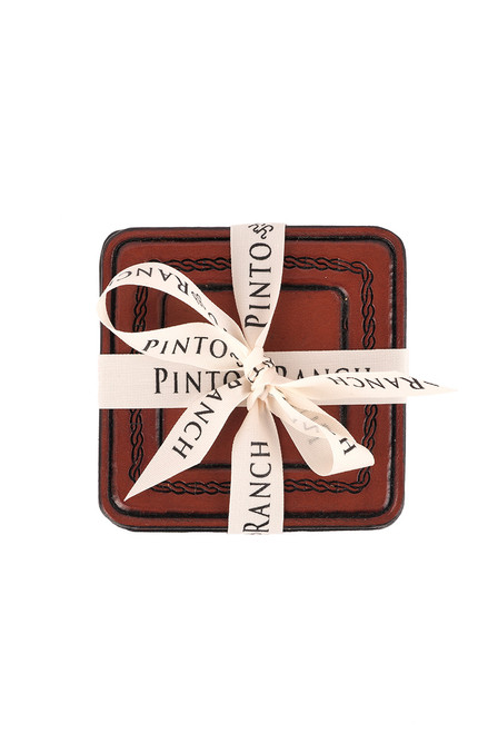 Pinto Ranch Stamped Leather Coaster Set - Wrapped