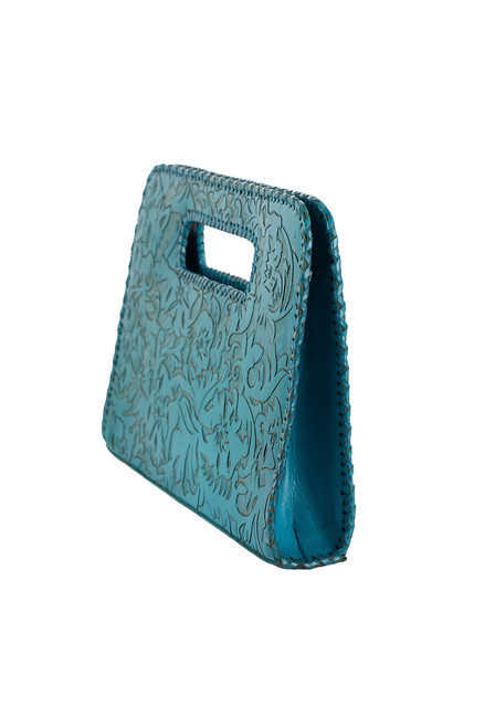 Hide and Chic Catalina Tooled Clutch -  Side
