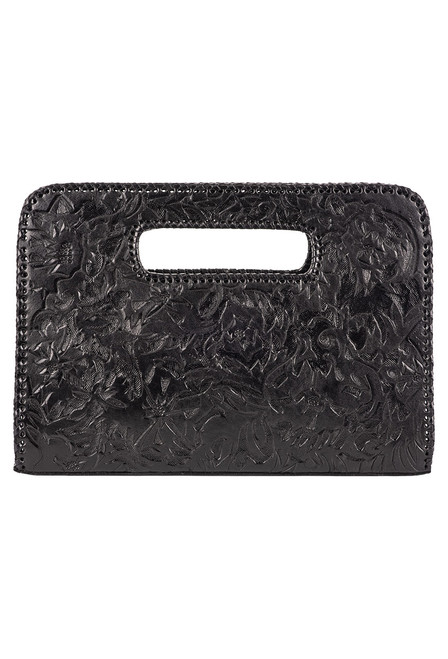 Hide and Chic Catalina Tooled Clutch - Black