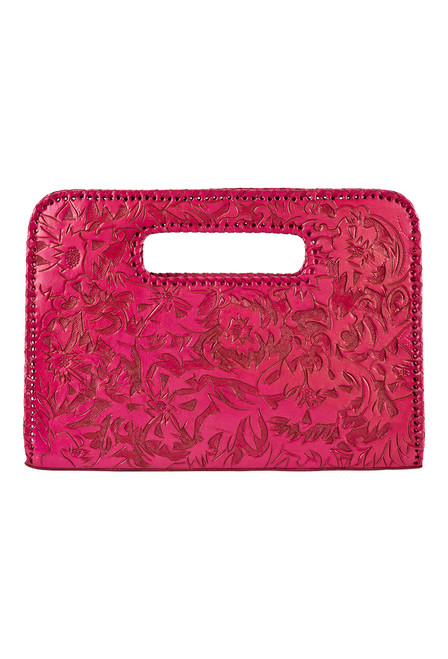 Hide and Chic Catalina Tooled Clutch - Pink