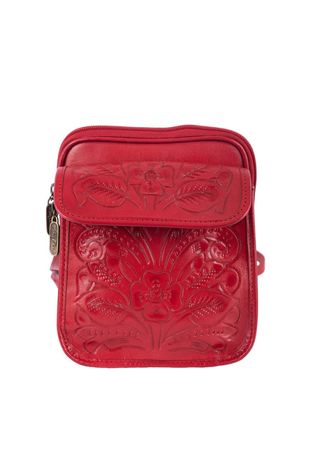 Hide and Chic Francisca Tooled Handbag - Red