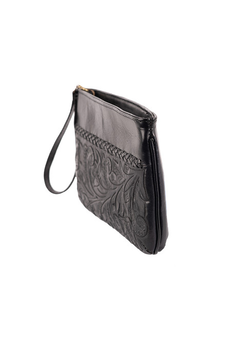 Hide and Chic Bianca Tooled Wristlet - Angle