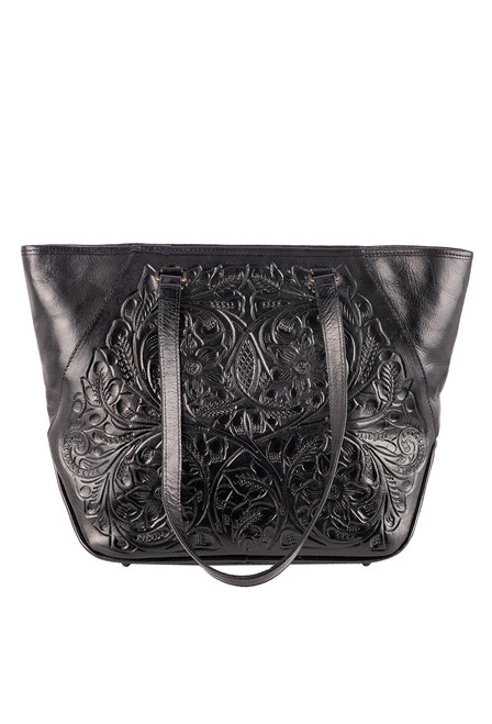 Hide and Chic Lucia Tooled Handbag - Black
