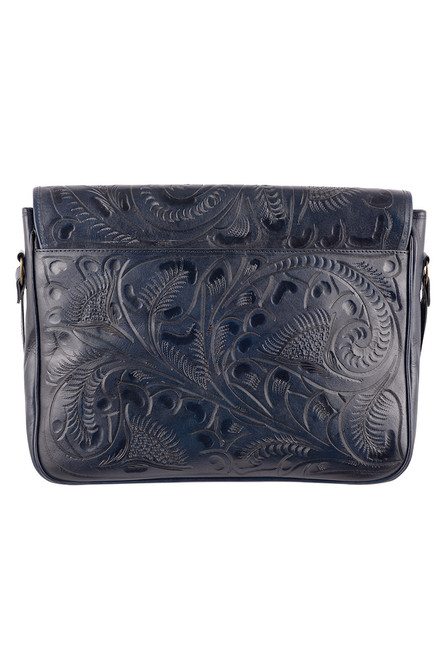 Hide And Chic Lorenzo Tooled Messenger Bag - Back
