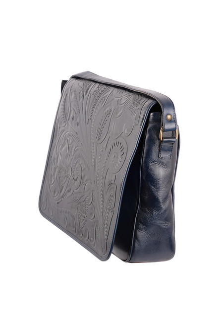 Hide And Chic Lorenzo Tooled Messenger Bag - Side