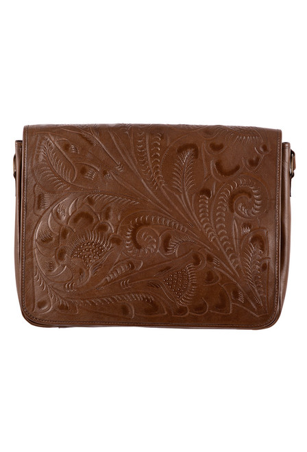 Hide And Chic Lorenzo Tooled Messenger Bag - Honey Brown