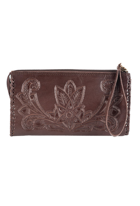 Hide and Chic Ariana Tooled Cosmetic Case - Dark Brown