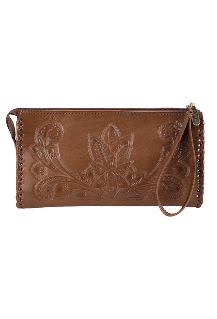 Hide and Chic Ariana Tooled Cosmetic Case - Front