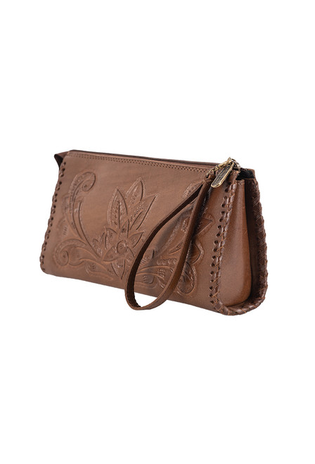 Hide and Chic Ariana Tooled Cosmetic Case - Angle