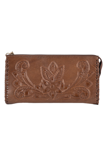 Hide and Chic Ariana Tooled Cosmetic Case - Back