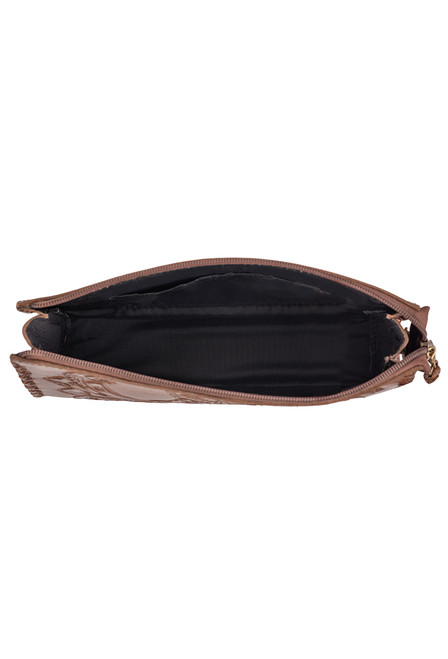 Hide and Chic Ariana Tooled Cosmetic Case - Inside
