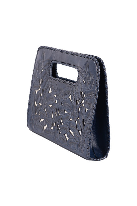 Hide and Chic Emila Tooled Clutch - Angle