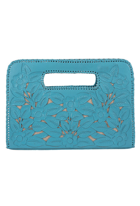 Hide and Chic Emila Tooled Clutch - Tiffany Blue