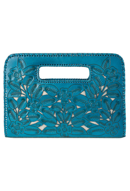 Hide and Chic Emila Tooled Clutch - Turquoise