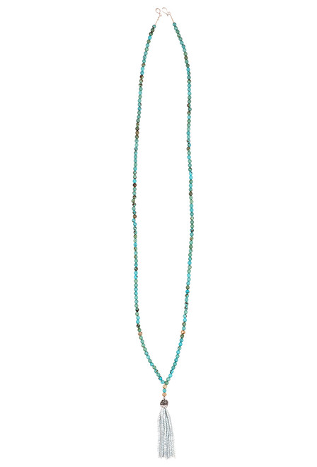 Ticklebutton Jewels Turquoise and Iridescent Crystal Tassel - Full