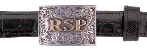 """Pinto Ranch 14K Gold and Sterling Silver 1"""" Initial Trophy Buckle"""