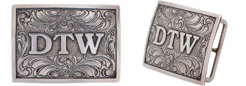 """Pinto Ranch Sterling Silver 1 ½"""" Initial Trophy Buckle"""