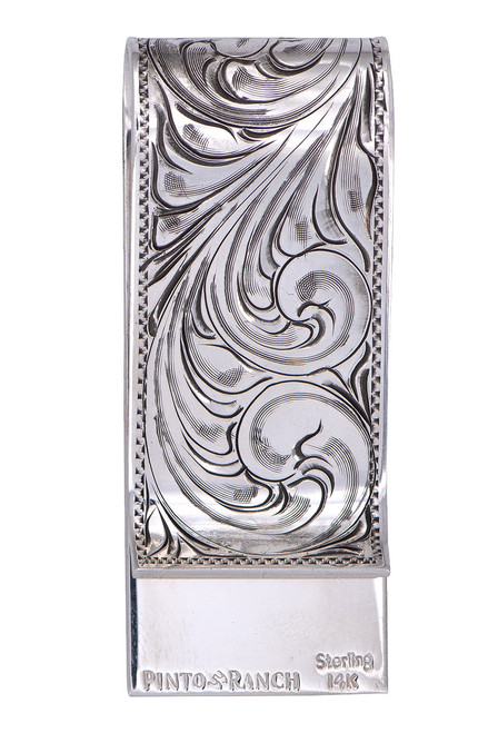 Pinto Ranch 14K Gold and Sterling Silver Initial Money Clip - Back