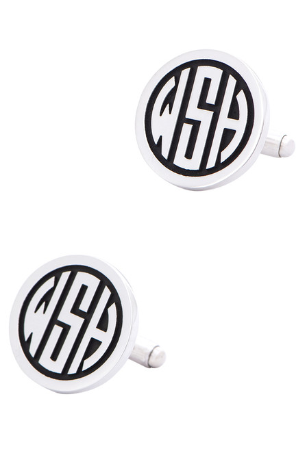 Pinto Ranch Sterling Silver Circle Initial Cufflinks - Side