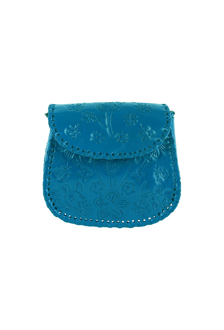 Hide and Chic Camila Tooled Handbag - Turquoise
