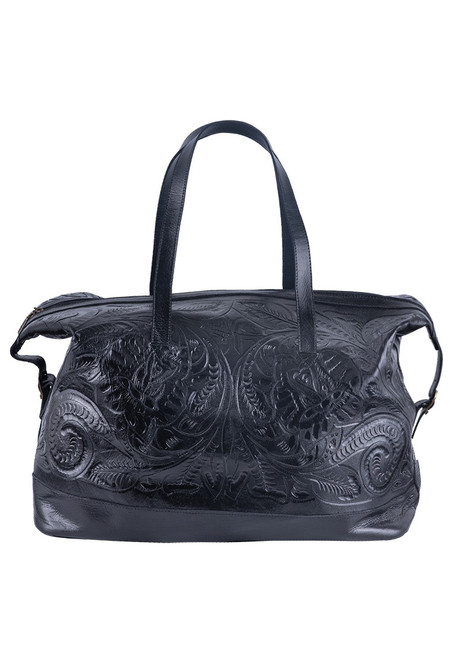 Hide and Chic Aurora Tooled Duffle Bag - Handle