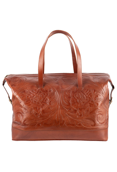 Hide and Chic Aurora Tooled Duffle Bag - Camel