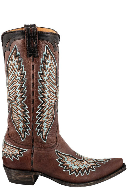 "Old Gringo Women's Cognac 13"" Eagle Stitch Boots - Side"