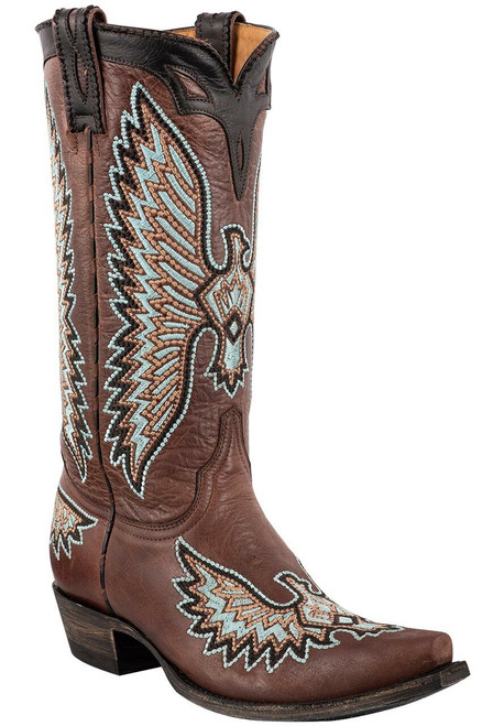 "Old Gringo Women's Cognac 13"" Eagle Stitch Boots - Angle"