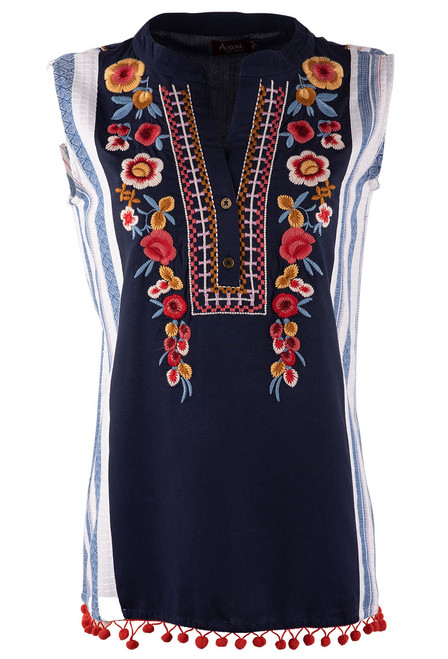 Avani del Amour Navy Embroidered Stripe Sleeveless Top - Front