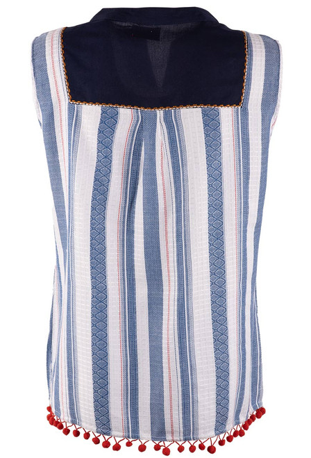 Avani del Amour Navy Embroidered Stripe Sleeveless Top - Back