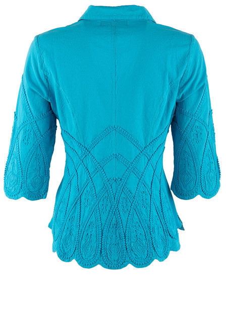 Gretty Zueger Turquoise 3/4 Sleeve Criss Cross Top - Back