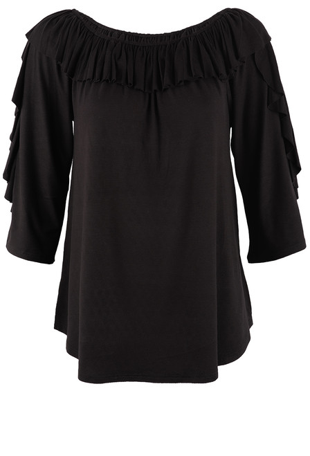 Apparel Love Black 3/4 Sleeve Ruffle Neck Top - Front