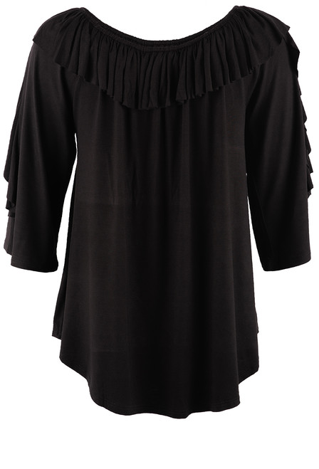 Apparel Love Black 3/4 Sleeve Ruffle Neck Top - Back