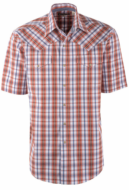 Stetson Orange Desert Dobby Plaid Snap Shirt - Front