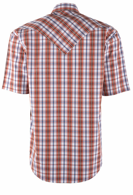Stetson Orange Desert Dobby Plaid Snap Shirt - Back