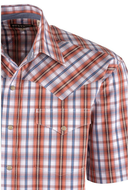 Stetson Orange Desert Dobby Plaid Snap Shirt - Close