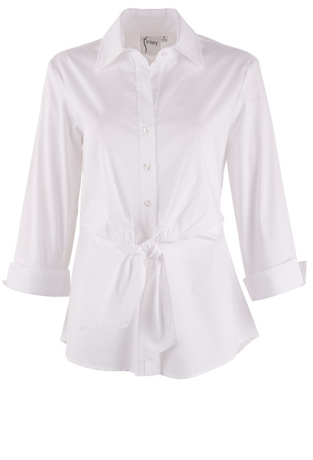 Finley Walter 3/4 Sleeve Tie Front Top - White Front