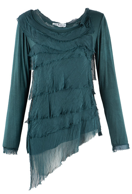 Gigi Long Sleeve Tiered Top - Forest Green
