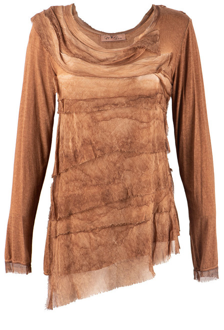 Gigi Long Sleeve Tiered Top - Washed Rust