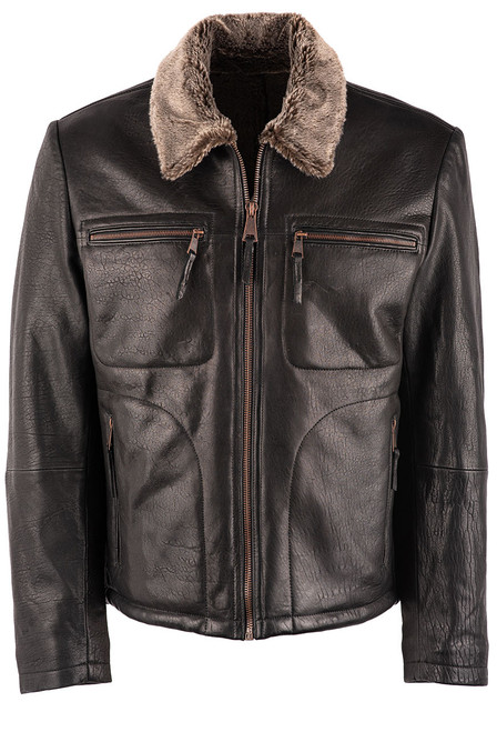 Stetson Men's Leather Jacket with Faux Fur Collar - Front